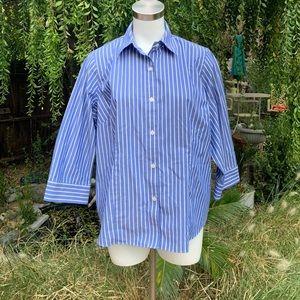 JONES NEW YORK Striped Button Up Shirt Blouse 1X